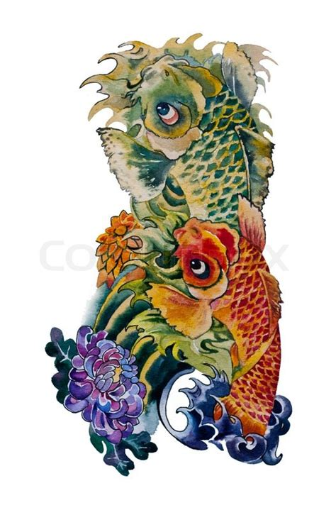 koi fish japanese tattoo design original watercolor