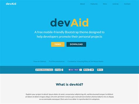 bootstrap themes twitter devaid free bootstrap theme for developers responsive