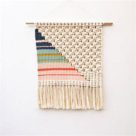 Macrame Weaving - woven macrame wall hanging striped triangle triangles