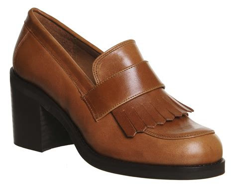 brown heeled loafers office quiff fringe block heel loafers in brown lyst