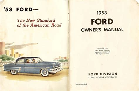 old cars and repair manuals free 2012 ford escape regenerative braking 1953 ford owners manual 01a 01b