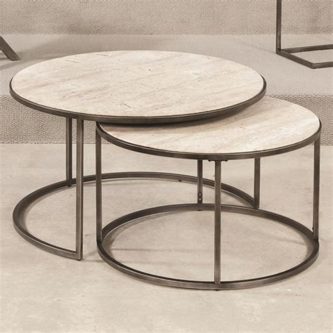 Round Cocktail Table with Nesting Tables