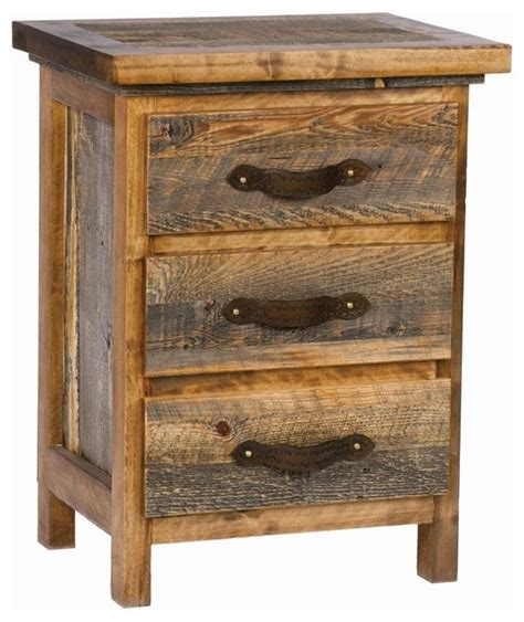 Rustic Wood Nightstand by 3 Drawer Rustic Wood Nightstand Tooled Leather