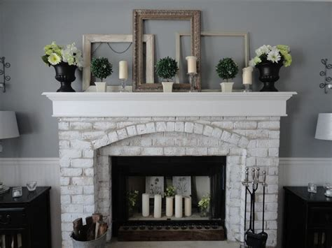 painted brick fireplace for the home
