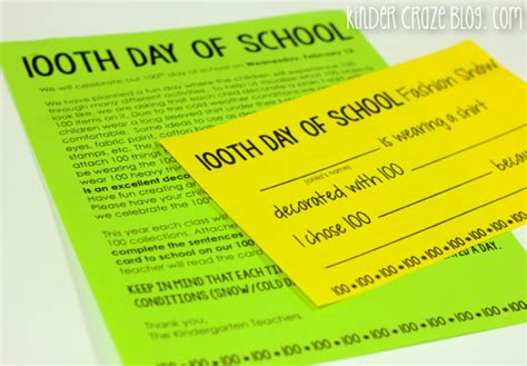 Parent Letter Day Of School 100th day of school ideas for kindergarten