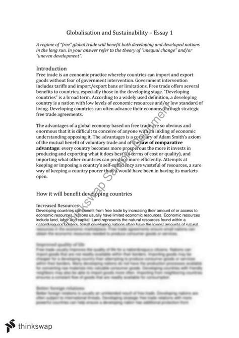 Globalisation Essay by Globalisation Essay 200541 Globalisation And Trade Thinkswap