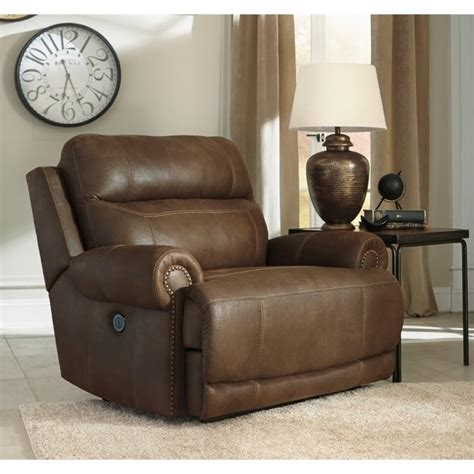 Zero Wall Recliner Austere Faux Leather Power Zero Wall Wide Recliner In Brown 3840082