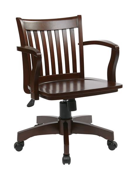 Wood Bankers Chair by Espresso Finish Mission Style Swivel Bankers Office Wood