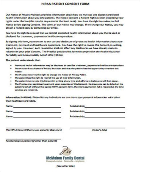 dental consent form hipaa consent form sle 8 exles in word pdf