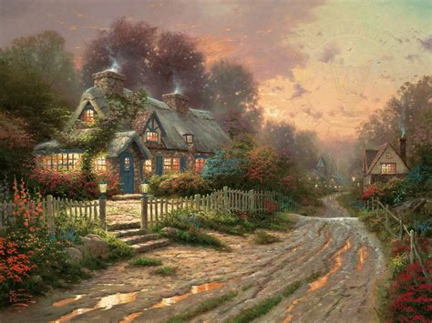 cottage paintings by kinkade teacup cottage the kinkade company