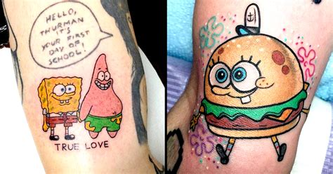 spongebob tattoo nautical nonsense 15 silly spongebob squarepants tattoos