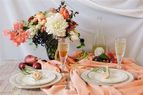 Romantic Peach and Plum Fall Wedding Inspiration   Glamour