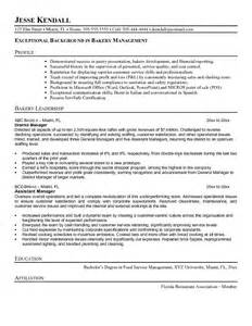 example bakery manager resume sample
