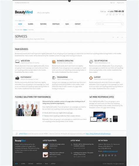 html5 template file beautymind responsive html5 template by web vision