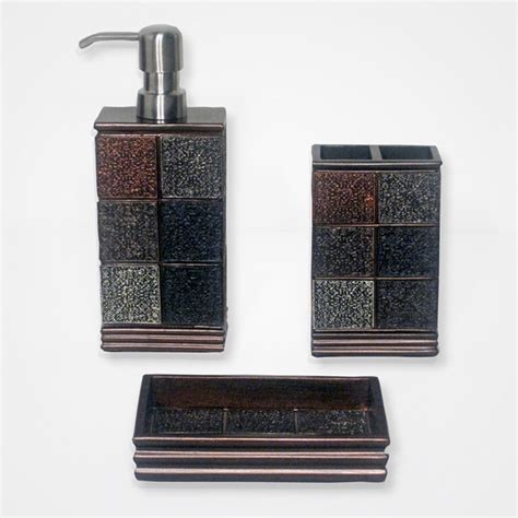 brown bathroom accessories sets tivoli brown resin tile patterned bath accessory 3