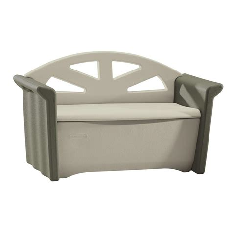 rubbermaid 32 gal resin patio storage bench fg376401olvss