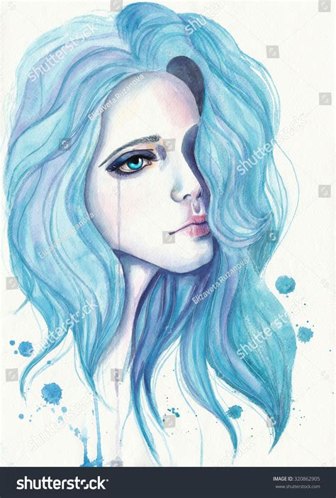 crying with blue hair watercolor illustration on