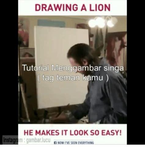 tutorial gambar lucu drawing a lion tutorial menggambar singa tag teman kamu he