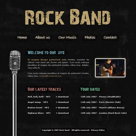 Rock Band Template By Apokalypseat On Deviantart Rock Band Web Template
