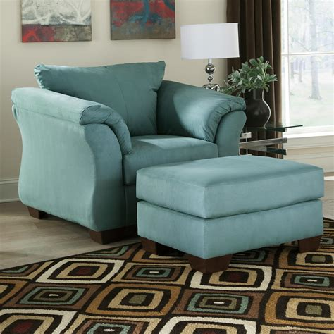 upholstered chair and ottoman signature design by ashley darcy sky contemporary