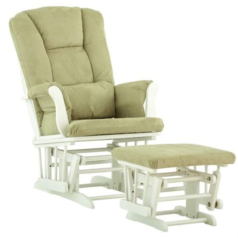 white glider with ottoman glider and ottoman in white with sage cushions 06554 541