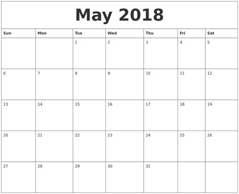 printable calendar templates 2018 may 2018 free printable calendar templates