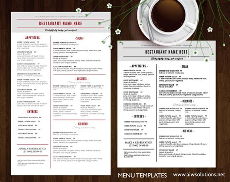 templates for menu design templates menu templates wedding menu food