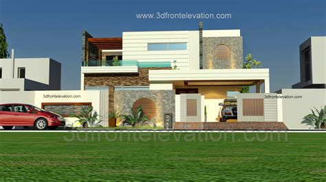Ideas Exterior Elevation Design 3d Front Elevation 1 Kanal Beautiful Modern House Plan And 3d Front Elevation Dha Lahore
