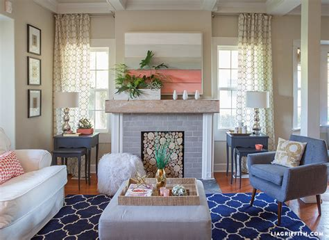 navy and coral living room lia griffith coral living room update for summer