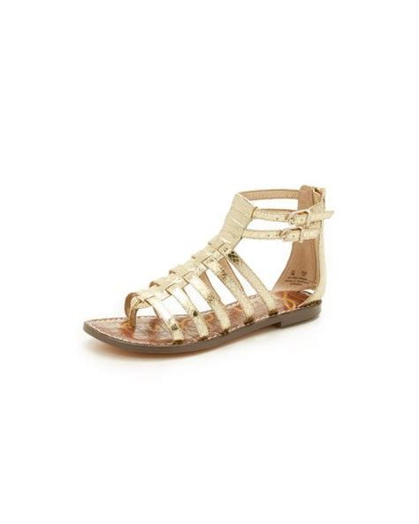sam edelman gold sandals sam edelman kendra flat sandals in gold lyst