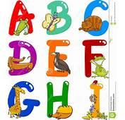Alfabeto Dos Desenhos Animados Com Animais Fotografia De