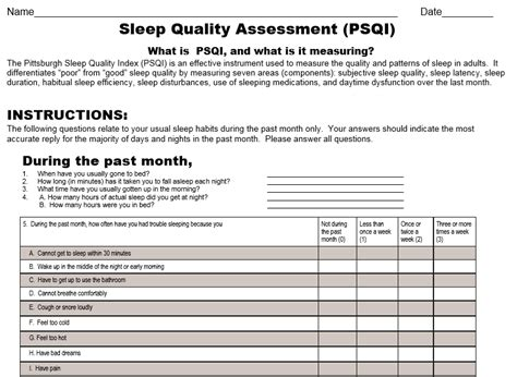 sleep questionnaire pittsburg sleep quality index health rising s chronic