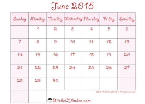 printable calendar june 2015 7 best images of free 2015 printable june schedule june
