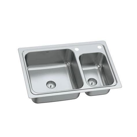 moen kitchen sinks undermount shop moen gibson 19 gauge double basin drop in or