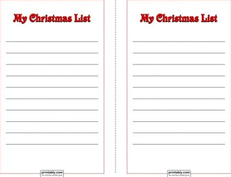 printable christmas list pdf my christmas wish list printable half page sheets printably