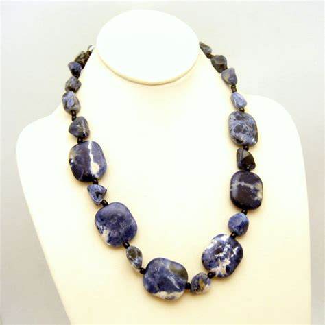 chunky for jewelry large chunky sodalite necklace striking denim color