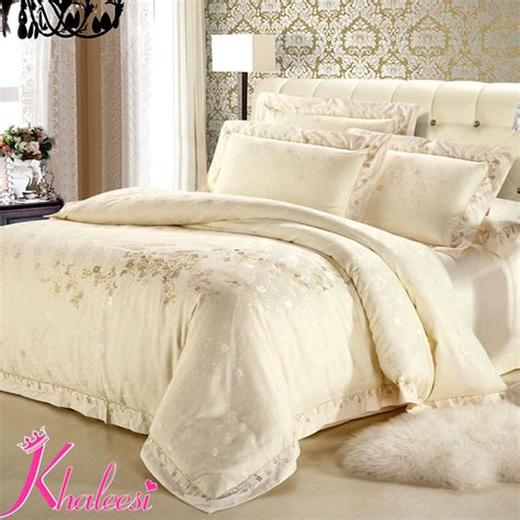 luxury satin bedding sets silver ivory white jacquard