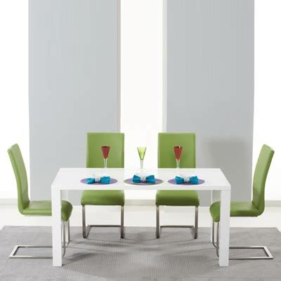 Dining Table With Green Chairs Harvey 160cm High Gloss White Dining Table With 4 Milan Green Chairs Robson Furniture