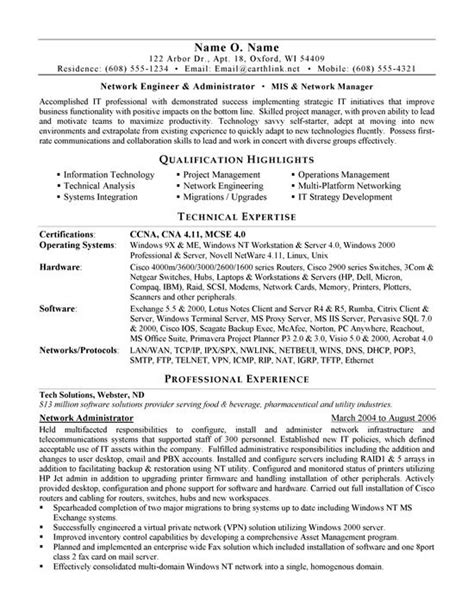 cover letter for network administrator network administrator resume sle career development