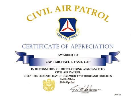 air certificate of appreciation template michael fassi receives civil air patrol certificates