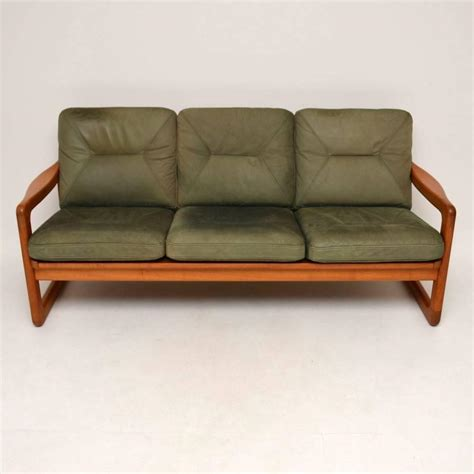Sofa Stool by Retro Teak And Leather Three Seat Sofa And Stool