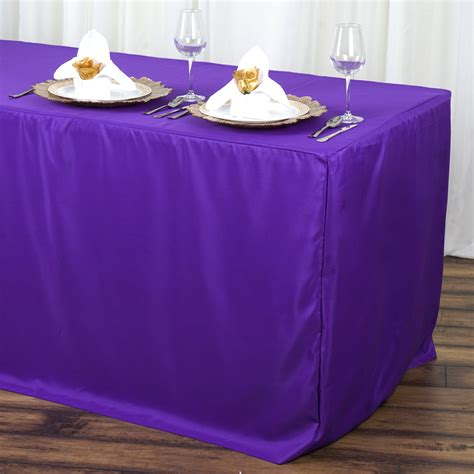 6 fitted polyester banquet rectangle tablecloth