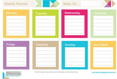 free printable calendar planner 2014 8 best images of colourful weekly planner printable free