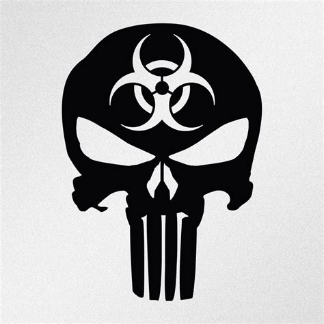 punisher skull biohazard symbol car body window bumper