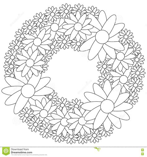 flower wreath coloring page floral wreath coloring page stock vector illustration