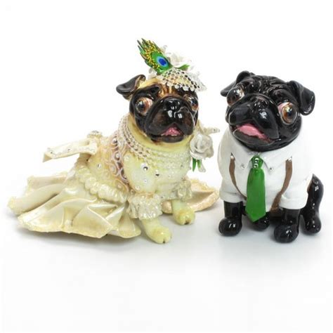 pug wedding cake pug lover wedding cake topper figurine handmade gifts 00001 madamepomm wedding