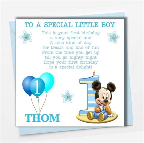 Birthday Card For Grandson 1st Birthday Personalised Mickey Mouse Boy Son Grandson Godson Babies