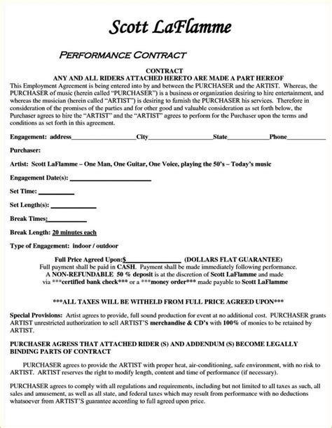 Artist Performance Contract Template Sletemplatess Sletemplatess Artist Performance Contract Template