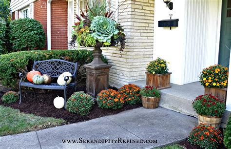 serendipity refined fall porch and urn decorations