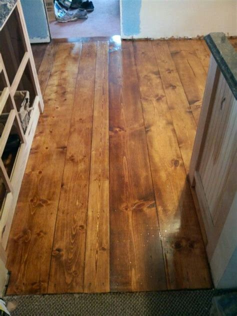 Waterlox pine plank floor (with 1 coat of Varathane